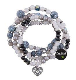 Overige Set van 4 armbanden, grijs/wit/blauw/zwart