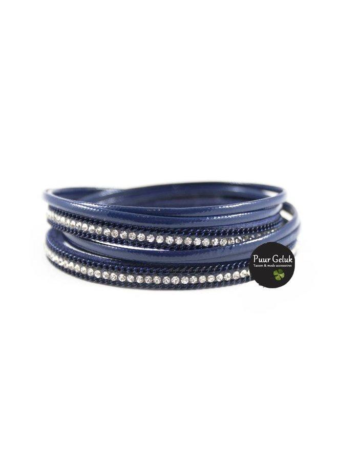 Armband wikkel met strass, blauw