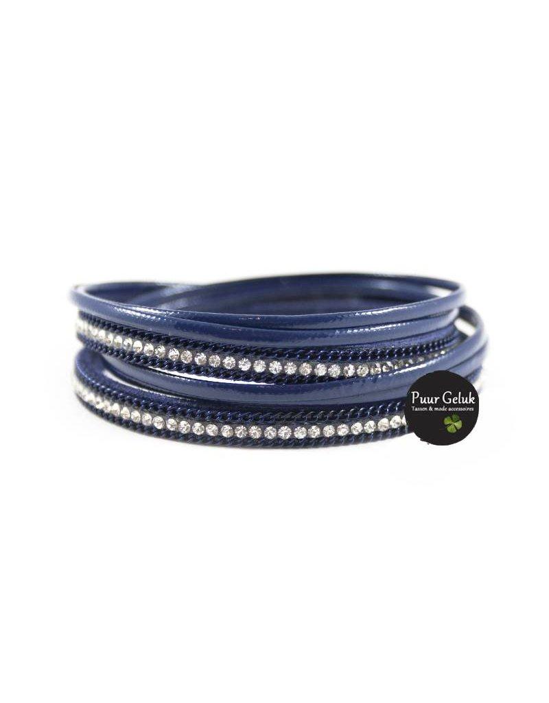ook-leuk Armband wikkel met strass, blauw