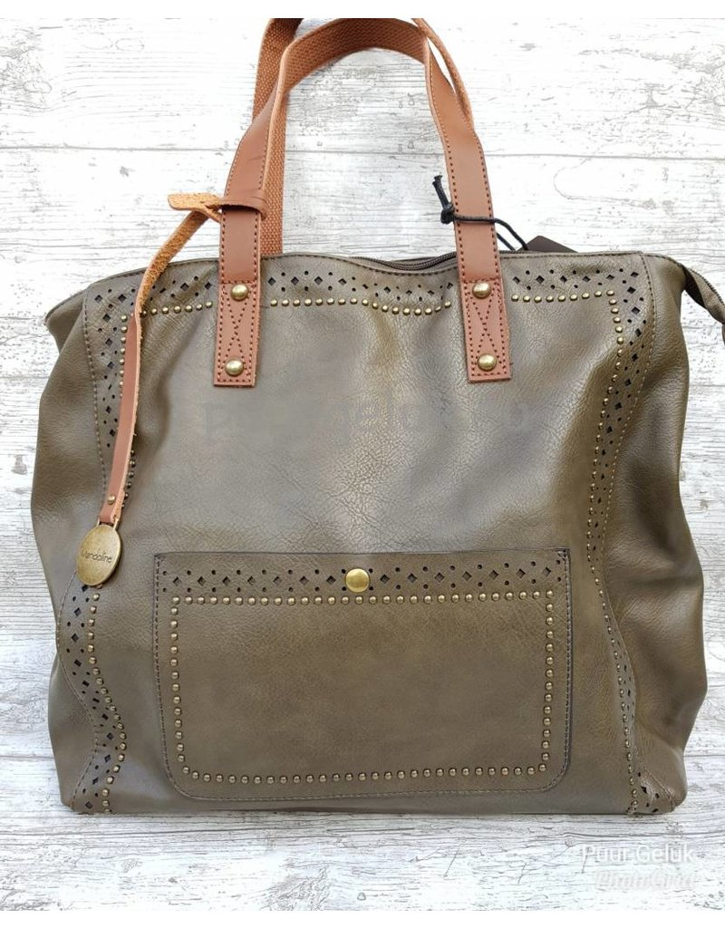 Mandoline Mandoline tas met studs & voorvak, groen