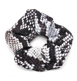 Overige Scrunchie / haarelastiek, slangenprint, zwart