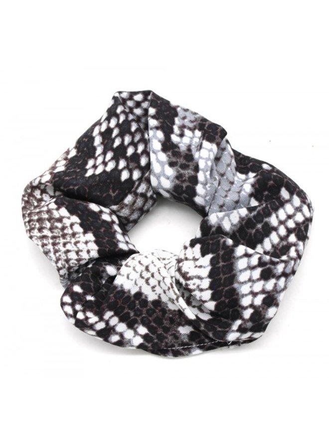 Scrunchie / haarelastiek, Slangenprint, zwart