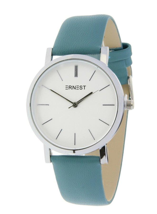 Ernest horloge silver-Andrea 905,  fris blauw