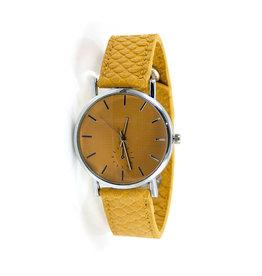 Ook-leuk  Dames horloge snake print, geel