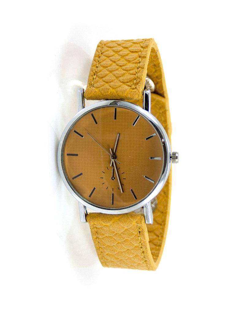 ook-leuk Horloge snake print, geel