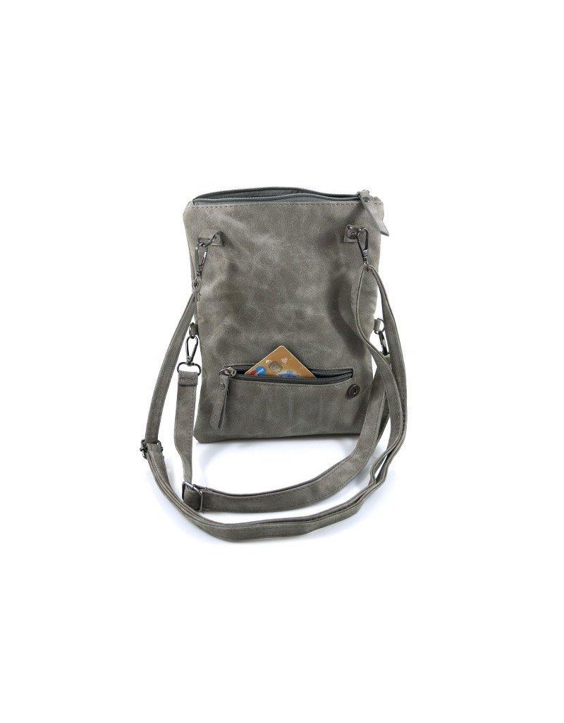 Ook-leuk Dubbel heup- schoudertasje Bora, grijs