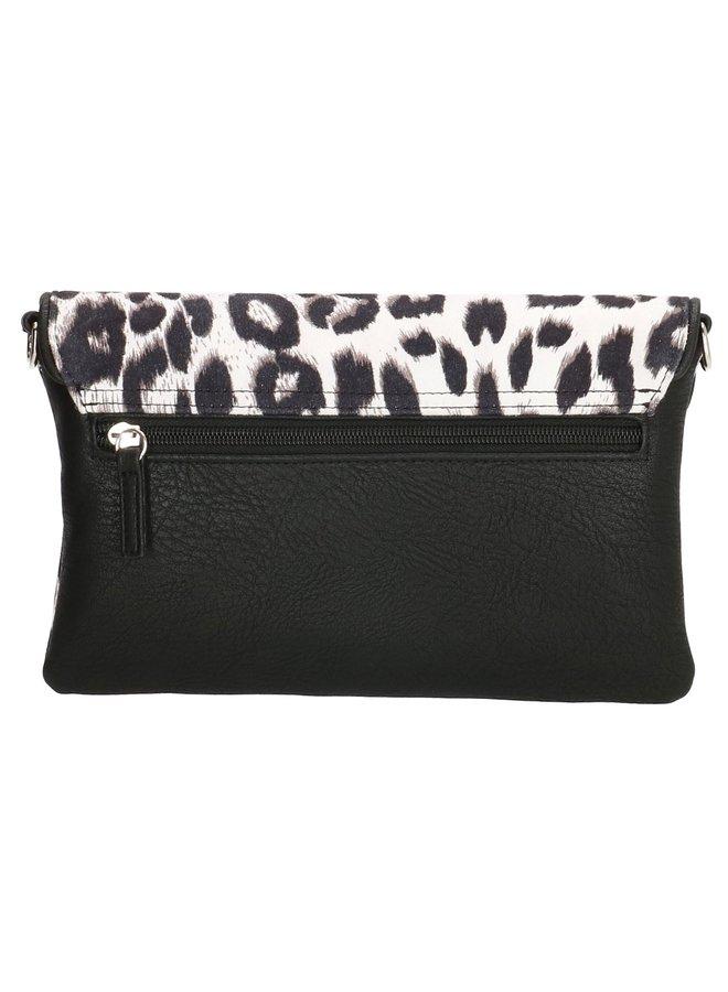 Charm London Fulham clutch/ schoudertasje  luipaard zwart