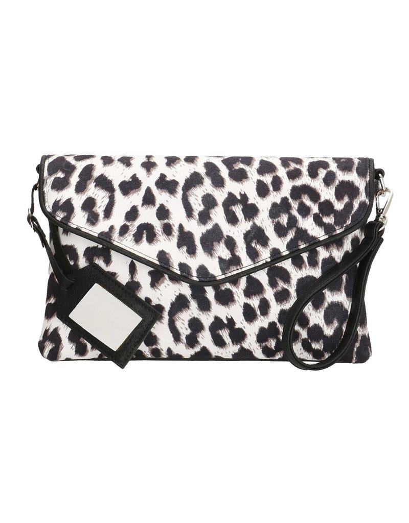 Charm Charm London Fulham clutch/ schoudertasje  luipaard zwart