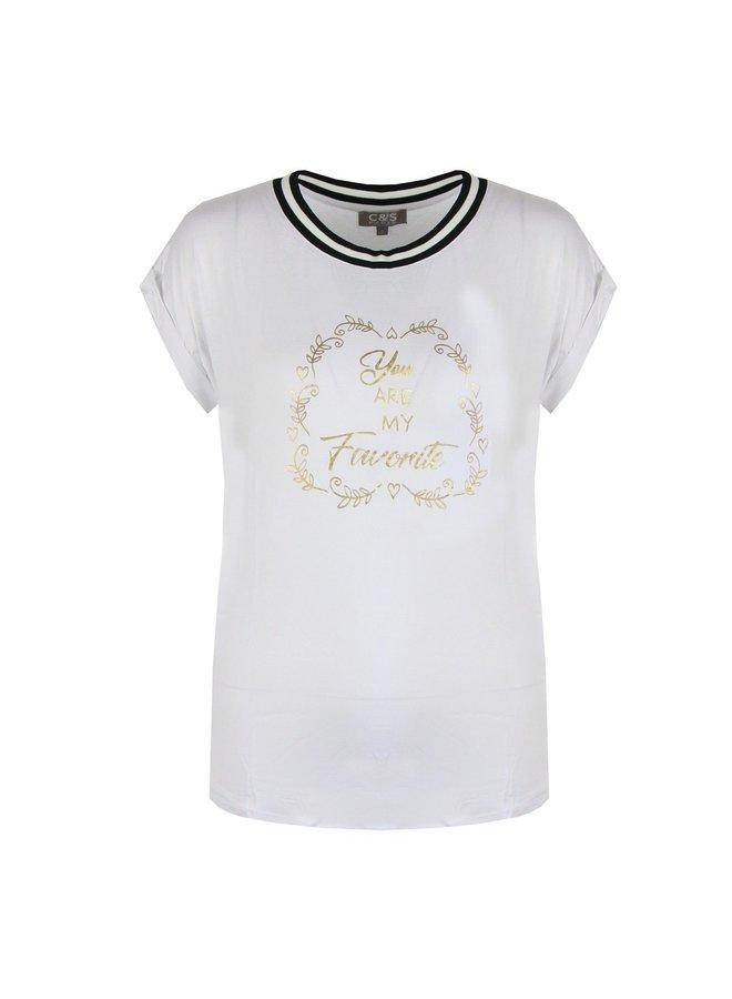 Shirt wit met tekst, maat: M