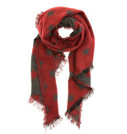 Overige Rode dames sjaal met sterren