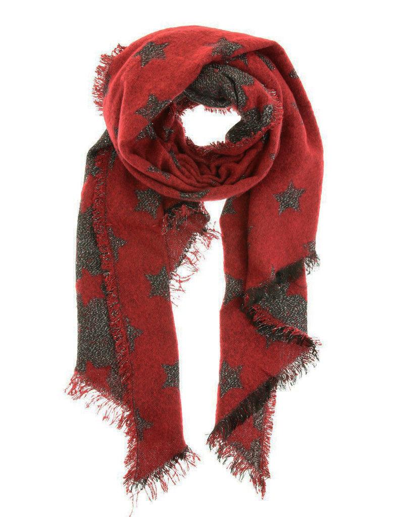 Overige Rode sjaal met sterren