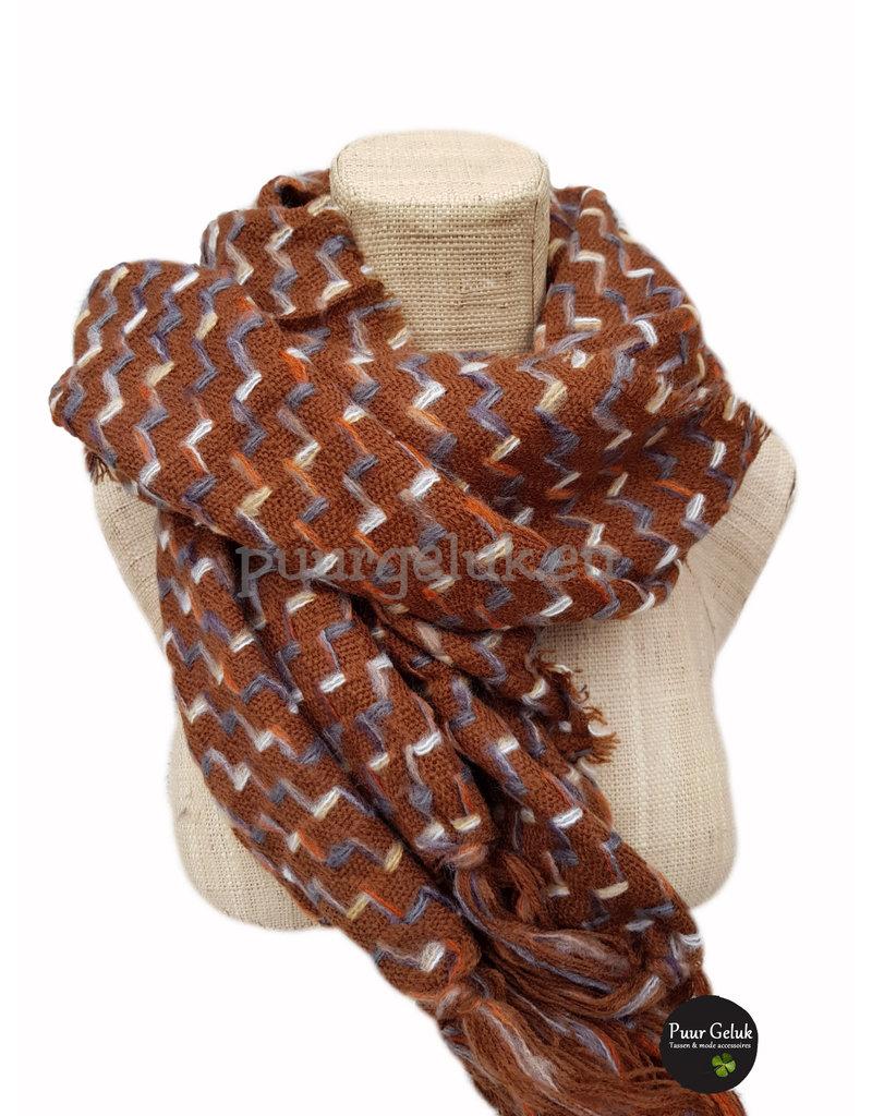 Sjaal met print, camel