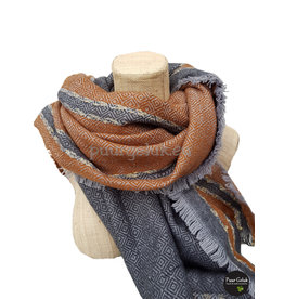 Dames sjaal camel met grijs