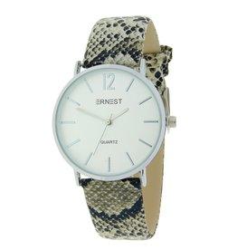 """Ernest dames horloge Ernest  """"Silver-Andrea-Python"""" beige"""