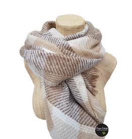 Overige Zachte dames sjaal in bruin tinten