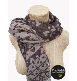 Overige Zachte dames sjaal met harten