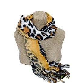Overige Ultra zachte okergele/zwarte sjaal in dierenprint