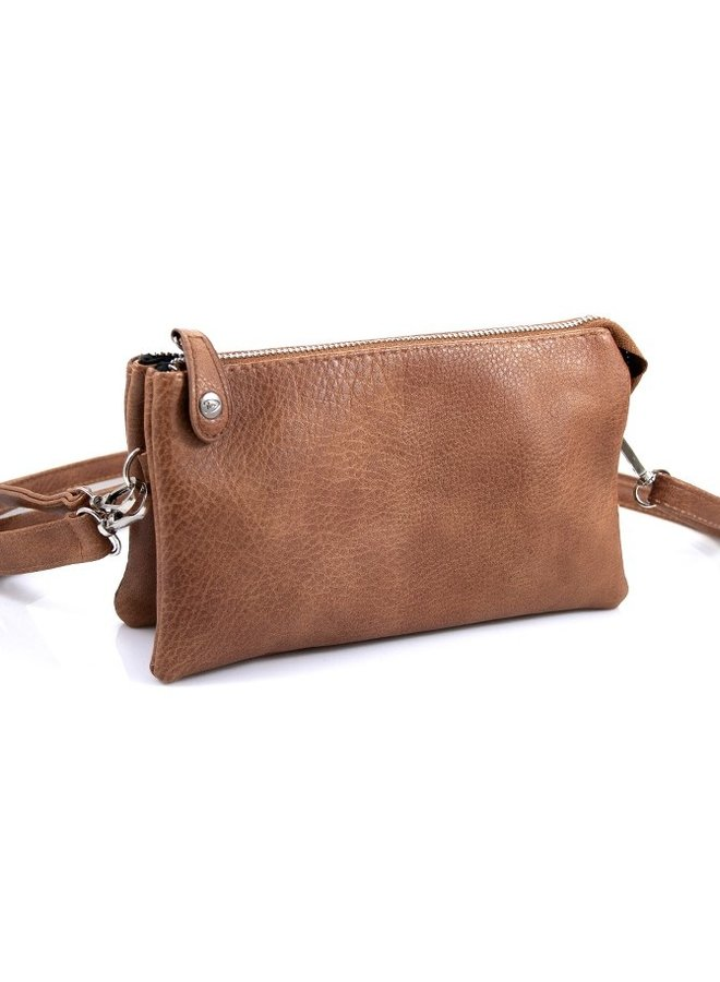 """New York"" schoudertasje / clutch, camel"