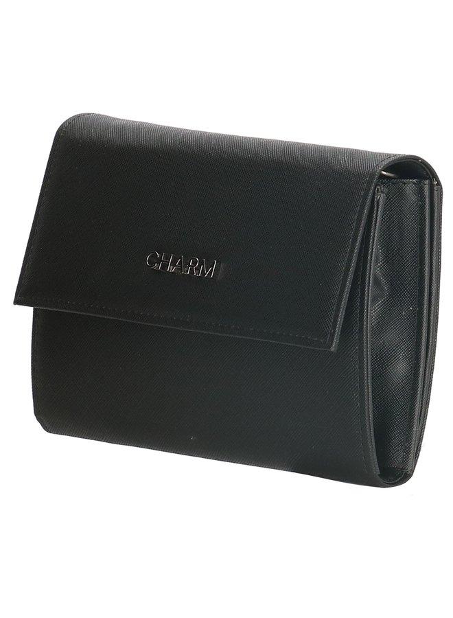 Charm london clutch/schoudertasje, zwart
