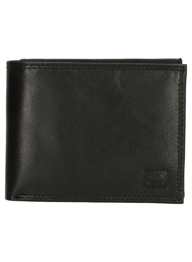 Lederen RFID portemonnee, zwart