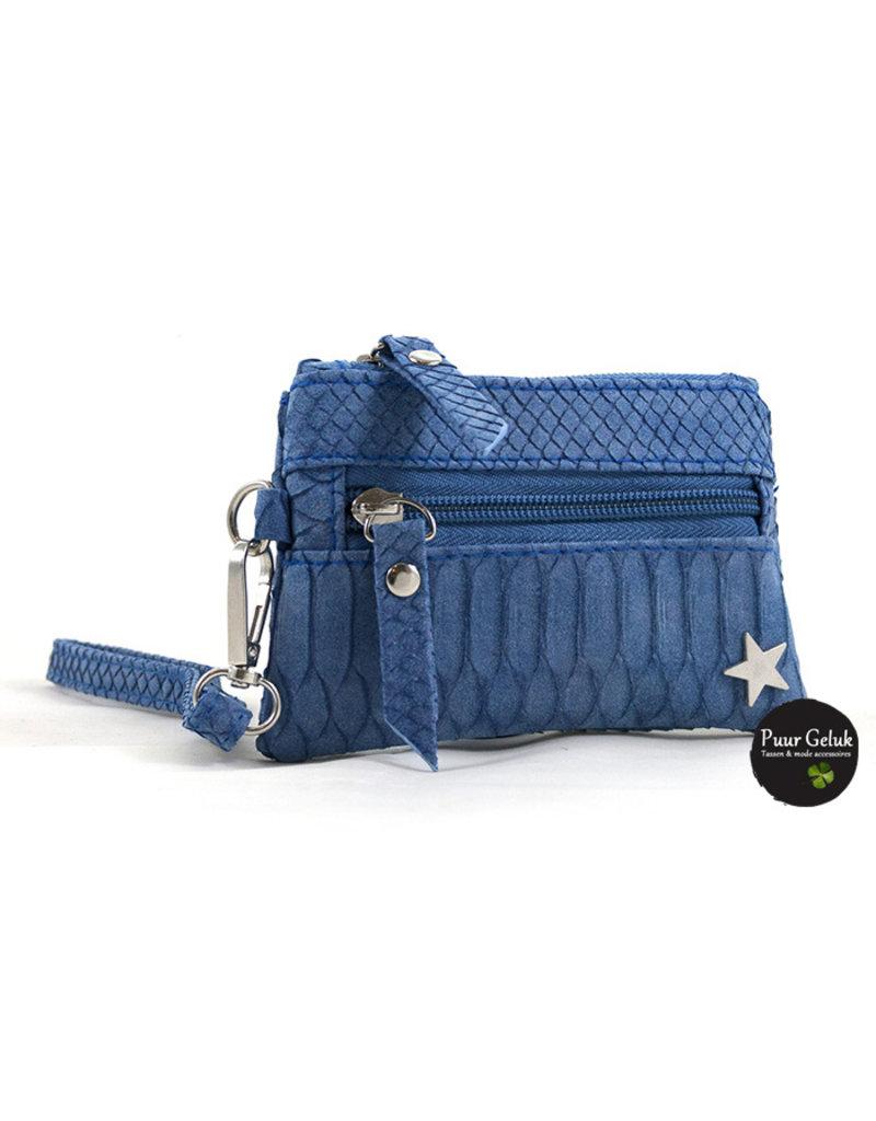 Ook-leuk  Blauw  snake portemonneetje