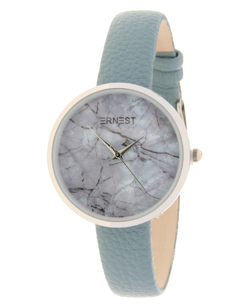 Ernest Ernest horloge Silver-Marble-Medium,  blauw