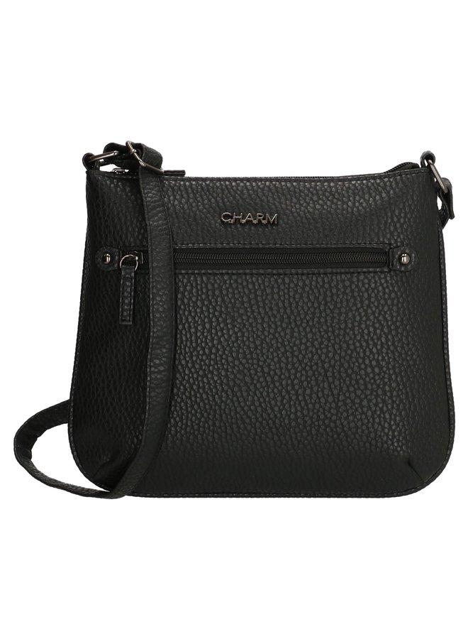 Zwart schoudertasje relief Charm