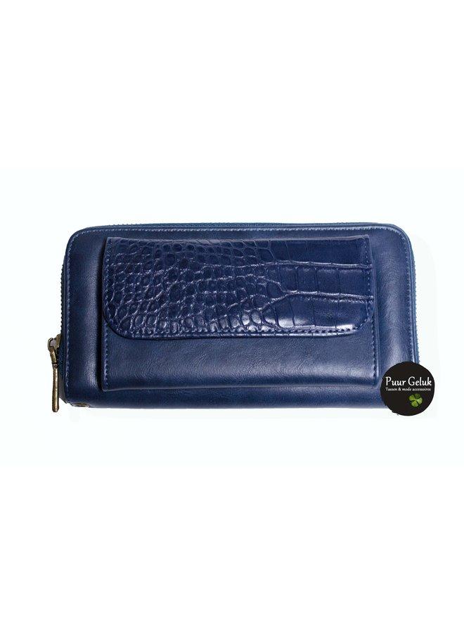 Mandoline croco portemonnee, blauw