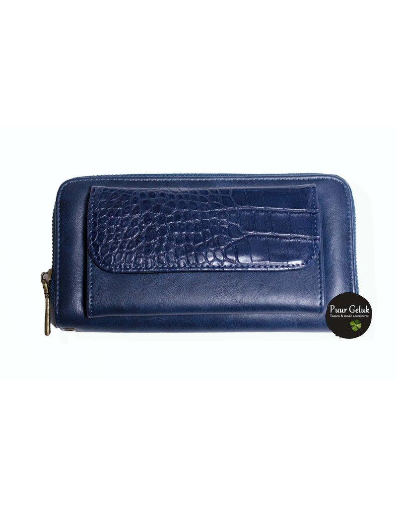 Mandoline Mandoline croco portemonnee, blauw