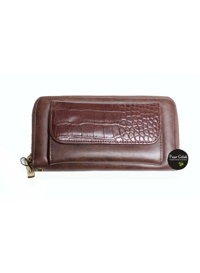 Mandoline croco dames portemonnee, bruin