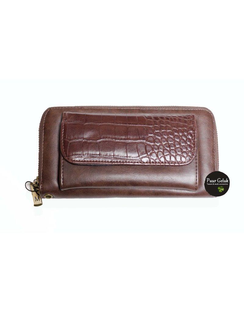 Mandoline Mandoline croco dames portemonnee, bruin