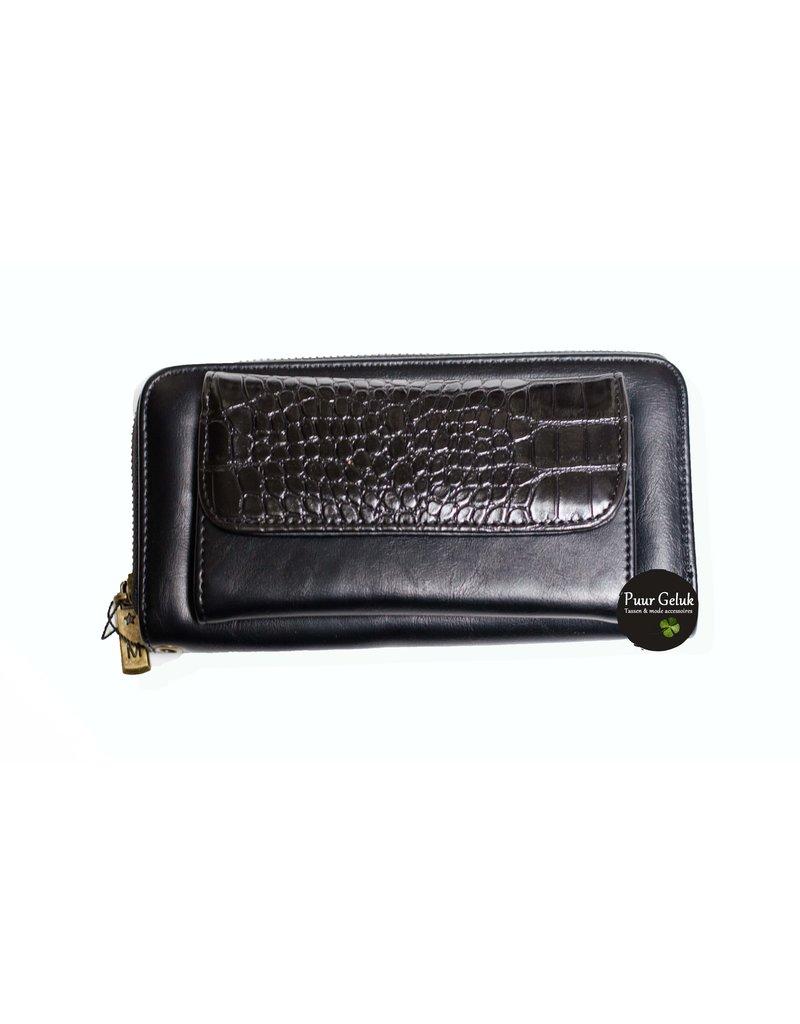 Mandoline Zwarte Mandoline croco dames portemonnee