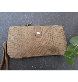 Ook-leuk  Clutch / schoudertasjes met croco print,  groen