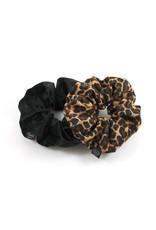Ook-leuk  set scrunchies zwart / panter