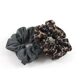 Ook-leuk  set scrunchies grijs / panter
