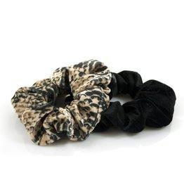 Ook-leuk  set scrunchies zwart / snake