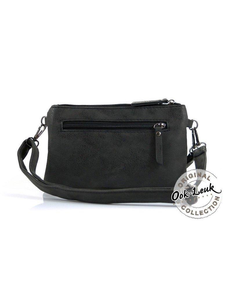 """Ook-leuk  Zwart heuptasje schoudertasje """" Laren"""" met clutch"""