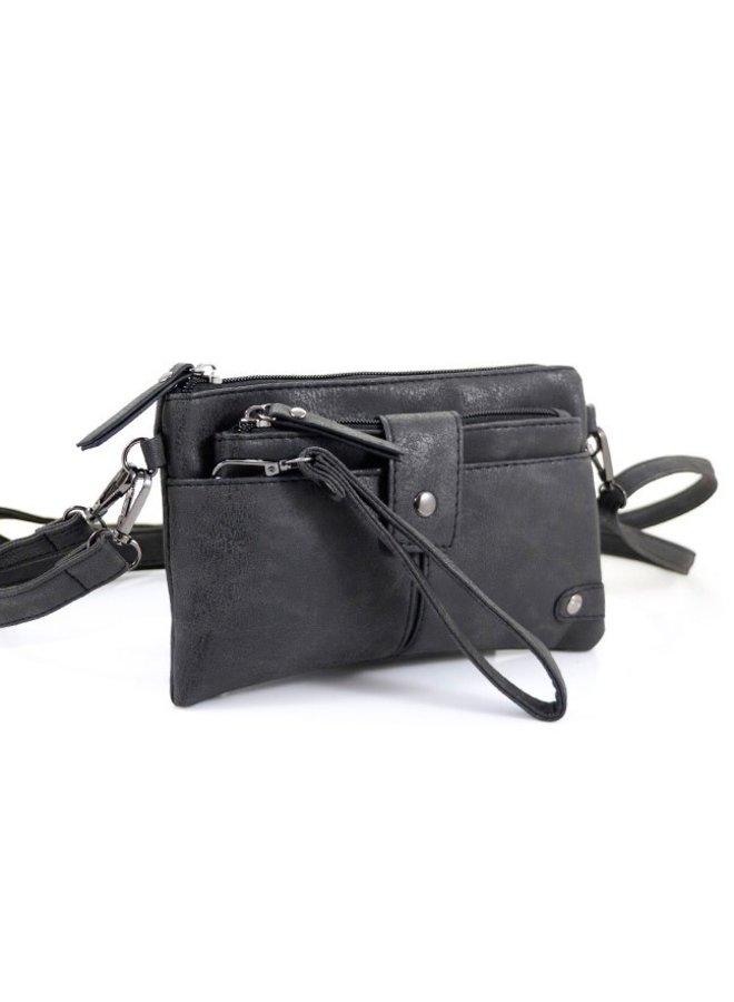 "Zwart heuptasje schoudertasje "" Laren"" met clutch"