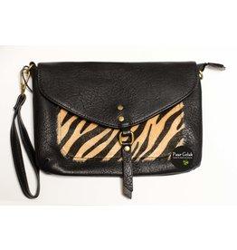 Mandoline Mandoline schoudertas met zebra print, zwart