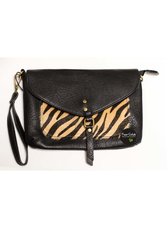 Mandoline schoudertas met zebra print, zwart