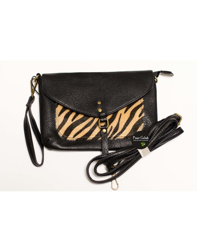 Mandoline Mandoline schoudertas met zebra print , camel