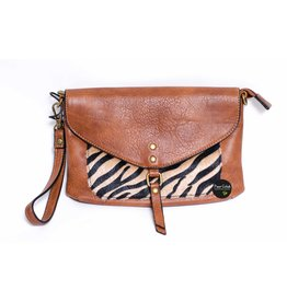 Mandoline Mandoline schoudertas met zebra print, camel