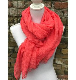 Overige Dames sjaal, effen roze/koraal