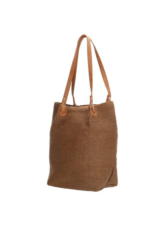 PE-Florence shopper tas / rieten tas, bruin