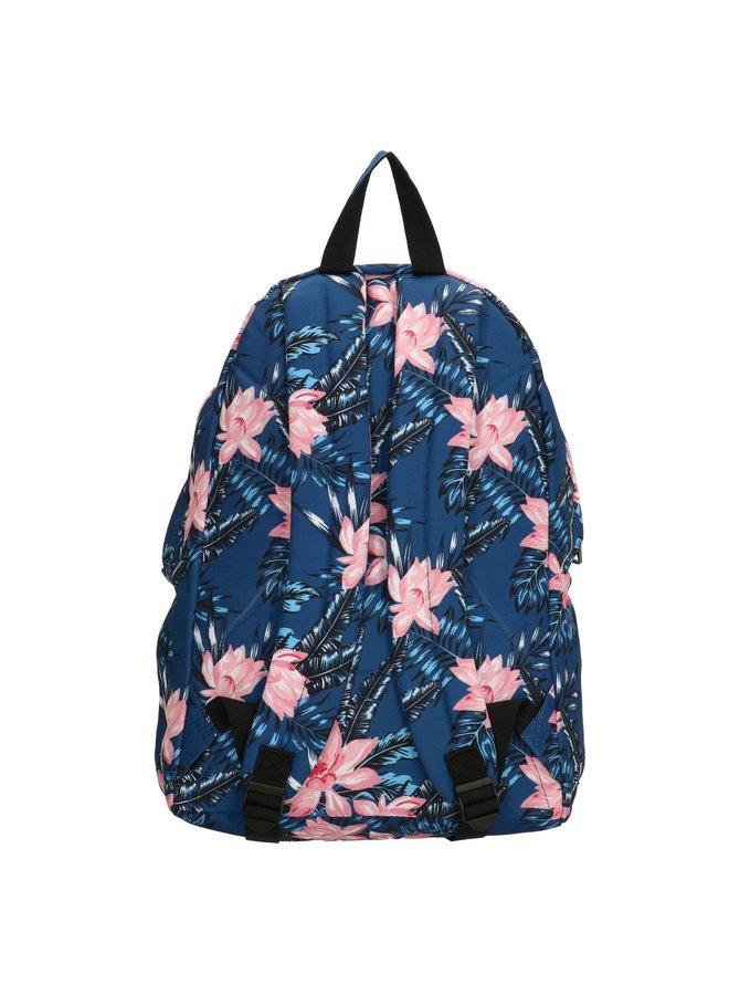 Enrico Benetti school rugzak bloemenprint, blauw