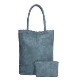 Beagles tassen Beagles shopper tas met croco print, blauw