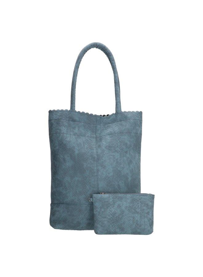 Beagles shopper tas met croco print, blauw