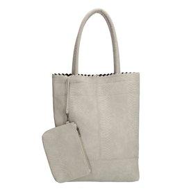 Beagles tassen Beagles shopper tas met croco print, licht grijs