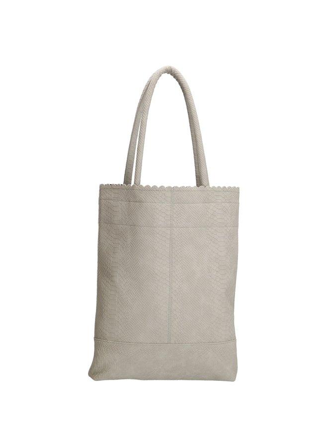Beagles shopper tas met croco print, licht grijs