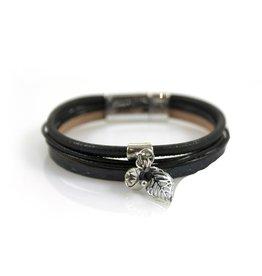 Ook-leuk  Zwart armbandje met bedels
